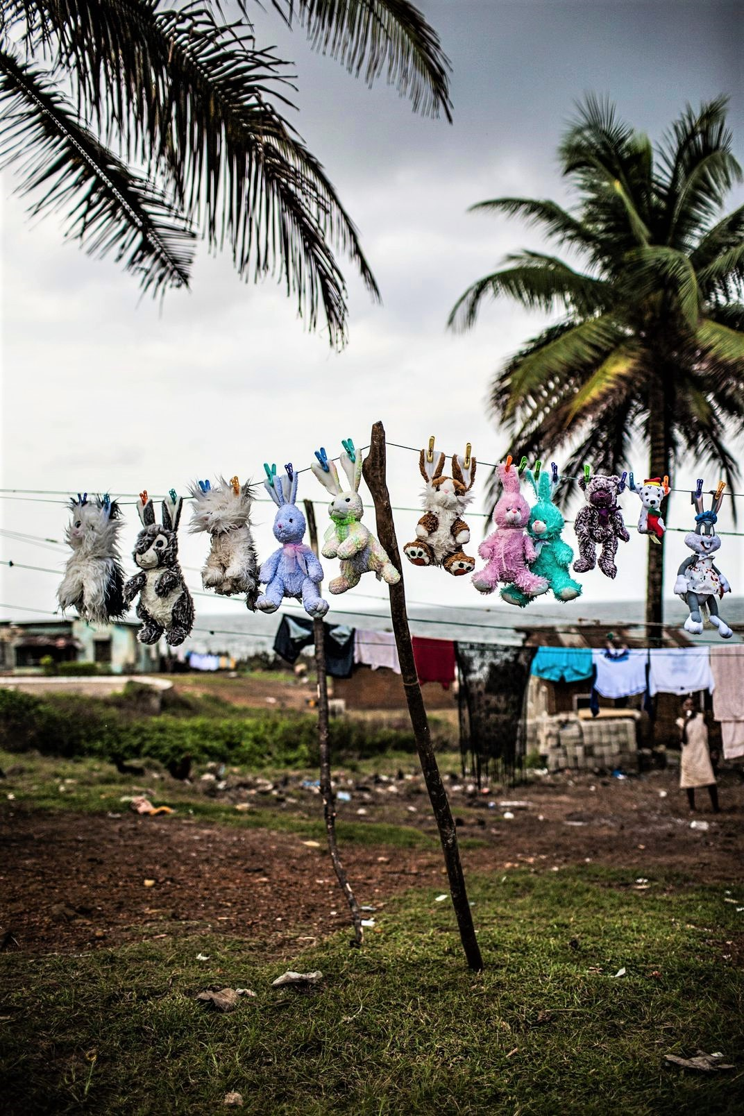Stuffed animals are washed and hung out to dry in Harper in August 2010. Image Glenna Gordon.