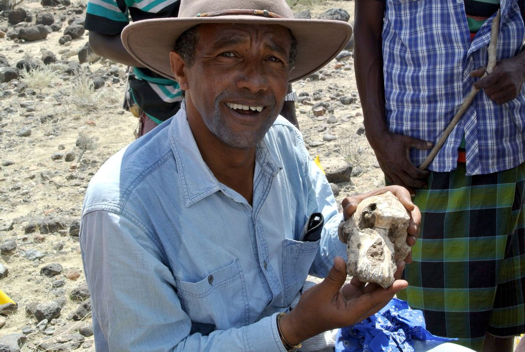 "Yohannes Haile-Selassiewith ""MRD"" cranium. (Cleveland Museum of Natural History)"