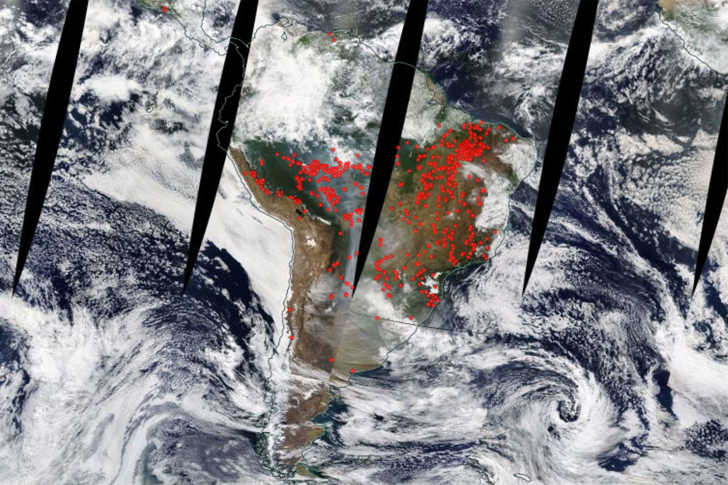 "Amazon rainforest from space, with red dots representing a fire or ""thermal anomaly"" NASA WORLDVIEW"