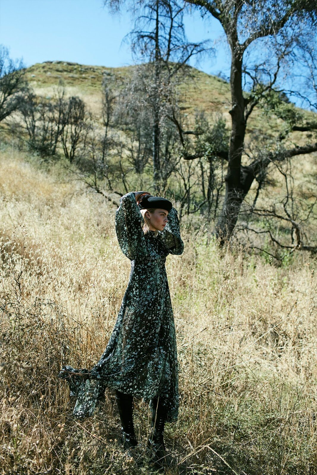 Cara Develigne by Sonia Szóstak for Porter Edit Sept. 13, 2019. Dress, Givenchy; boots, Ann Demeulemeester; beret, Eugenia Kim