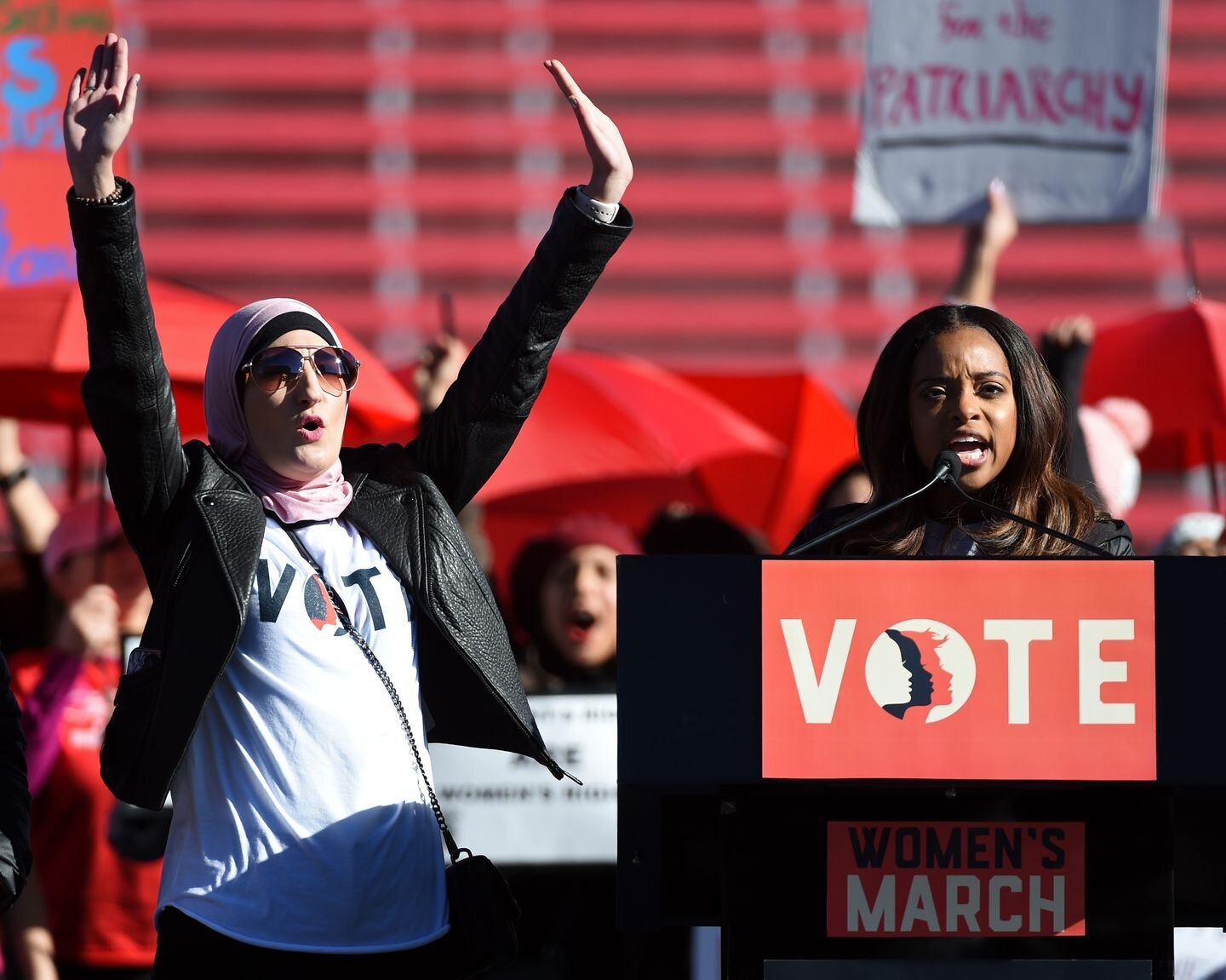 Women's March Co-Chairs Linda Sarsour and Tamika Mallory speak during the Power to the Polls voter-registration tour last year in Las Vegas. (Ethan Miller/Getty Images)