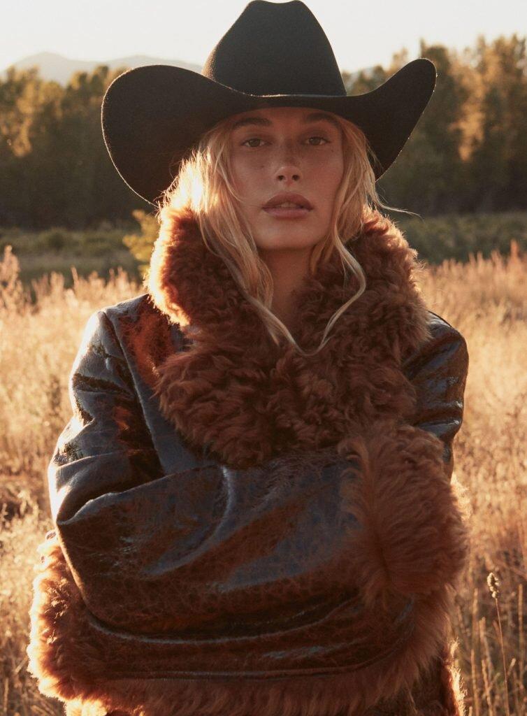 Hailey Bieber by Daniel Jackson,  Vogue , October 2019.  via Vogue.com.  Michael Kors Collection coat, ($4,990); select Michael Kors stores.