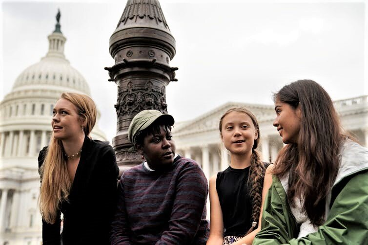 Thunberg, third from left, with fellow youth climate activists at the Capitol in Washington, D.C., Sept. 17, 2019.  Reuters/Sarah Silbiger