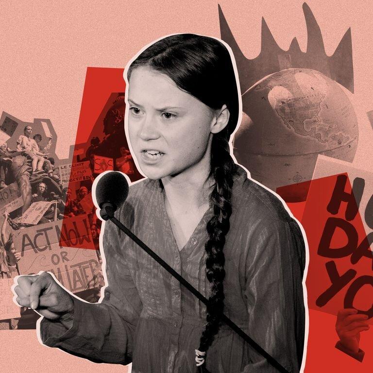 Greta Thunberg image composite  via HarpersBazaar.com.