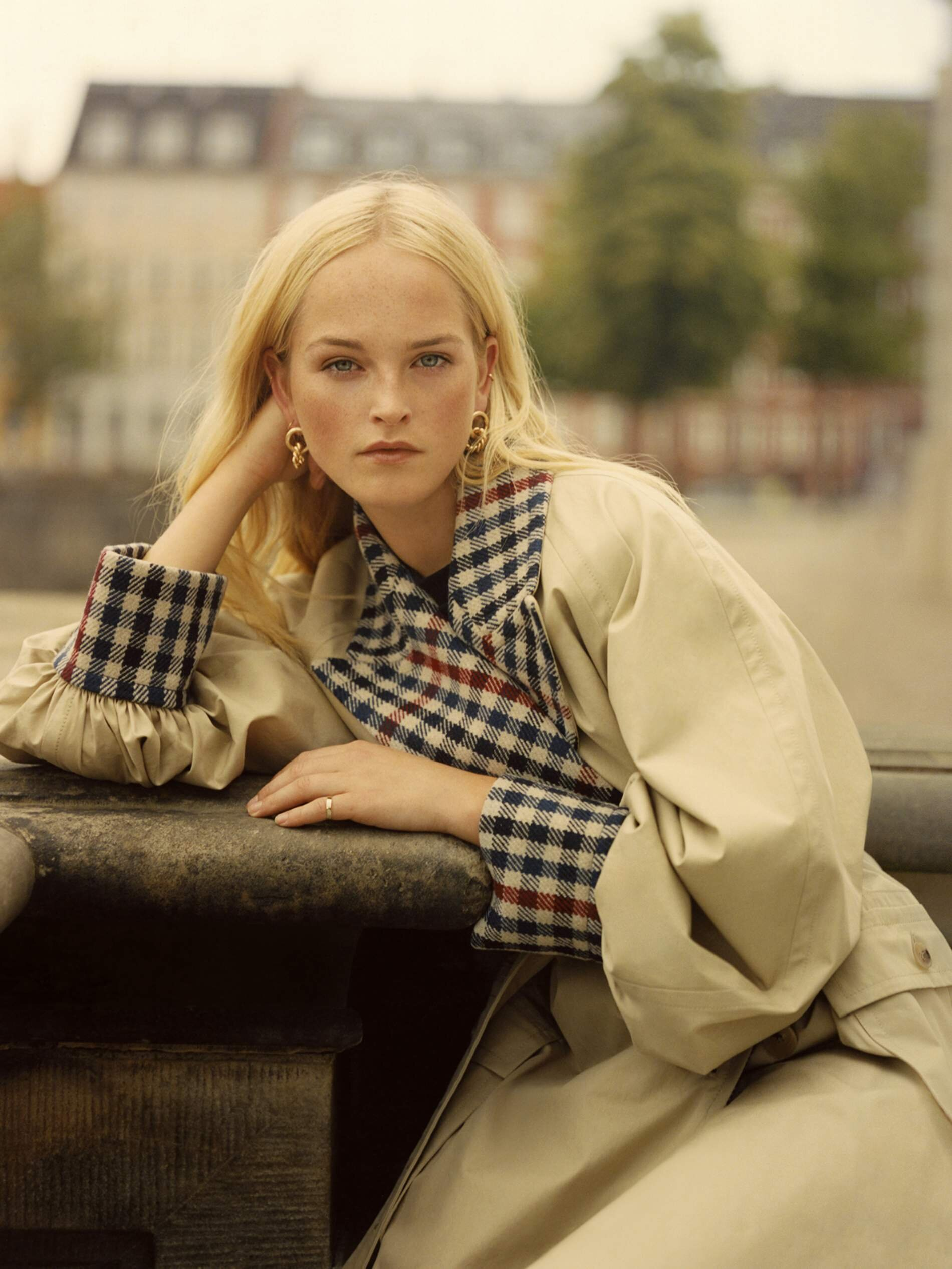 Image Jean Campbell by Quentin De Briey for Porter Edit. Coat, JW Anderson; top (just seen), Aries; earrings, Laura Lombardi; ring, Grace Lee.