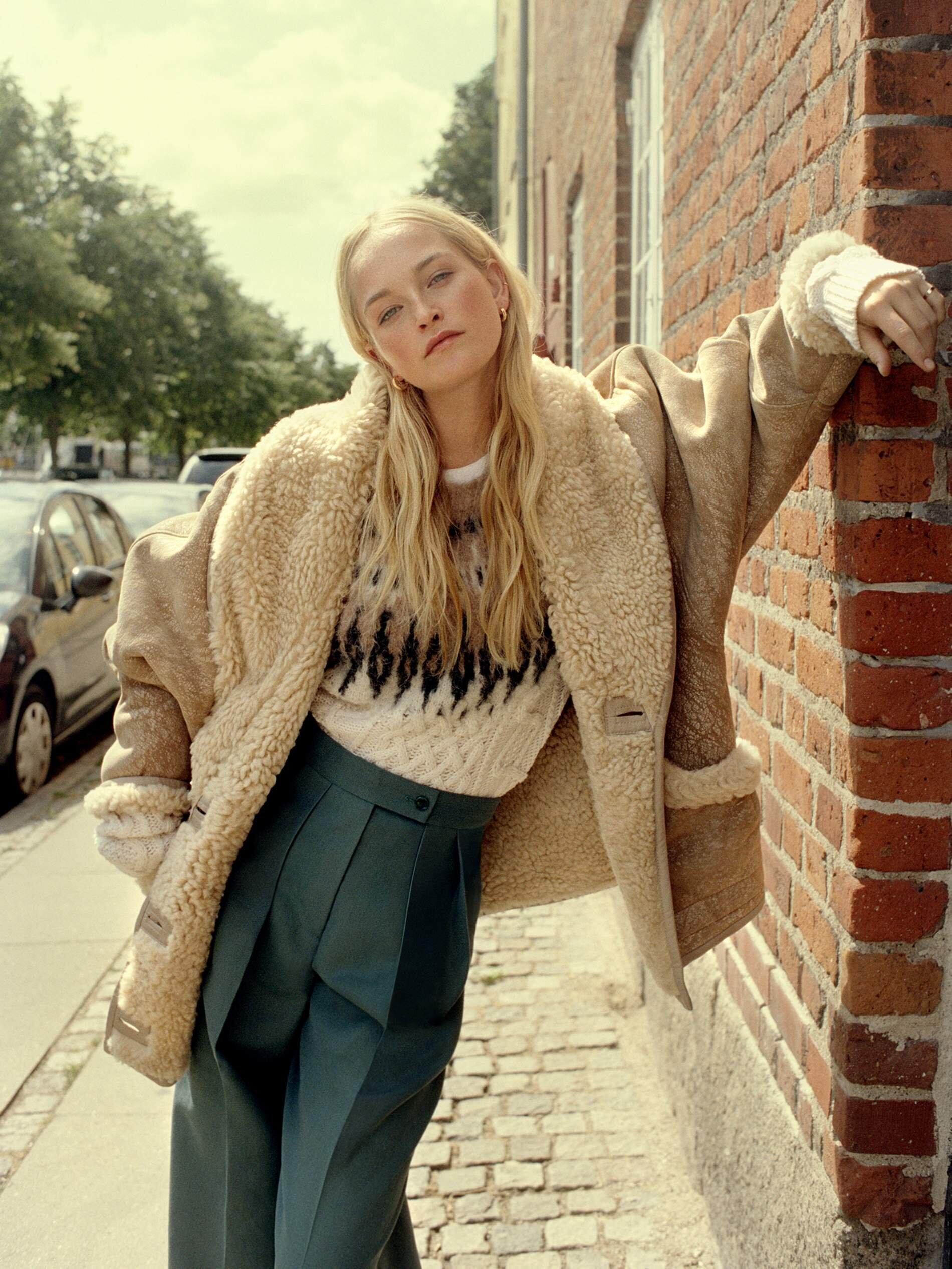 Image Jean Campbell by Quentin De Briey for Porter Edit. Coat, Isabel Marant; sweater, Altuzarra; pants, Acne Studios; earrings, Sophie Buhai; ring, Grace Lee.