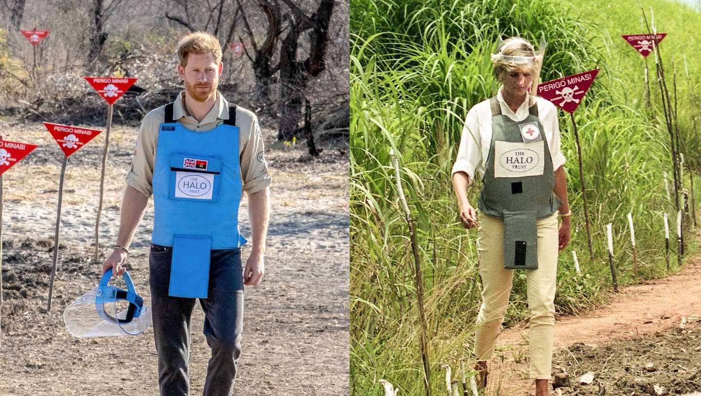 Prince Harry visits a minefield in Dirico, Angola, on Sept. 27. On the right, his late mother Diana, Princess of Wales, during her visit to a minefield in Angola on Jan. 15, 1997. (Halo Trust/AFP/  image via Washington Post.