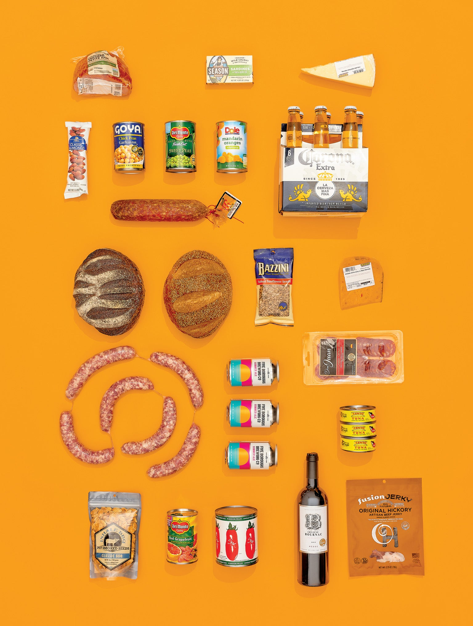 "Ultraprocessed foods and drinks are designed to be ready-to-consume, with numerous additives that can include oils, fats, color enhancers, flavor enhancers, nonsugar sweeteners, and bulking and firming agents. (No specific brand has been linked to obesity.) Credit: Jamie Chung ( photo ); Amy Henry ( prop styling ); Source: ""NOVA. The Star Shines Bright,"" by Carlos A. Monteiro et al., in  World Nutrition , Vol. 7, No. 1; January-March 2016"