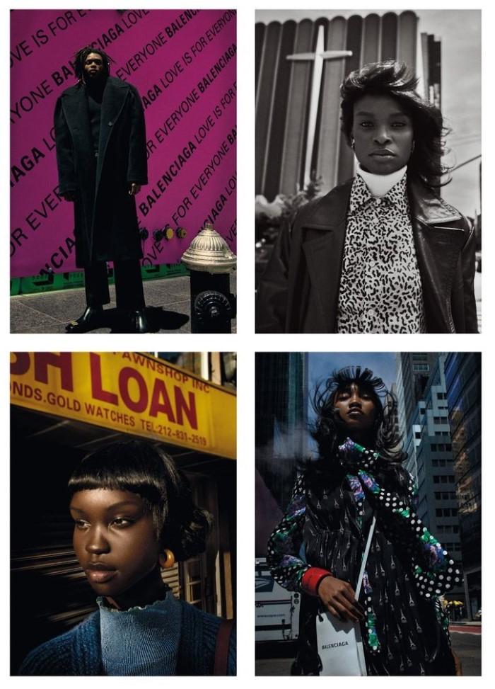 Achenrin Madit, Barbra-Lee Grant, Eniola Abioro by Txema Yeste in 'Harlem' for Numéro France for October 2019.