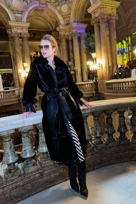 Natalia Vodianova wearing Koba faux fur by Stella McCartney.