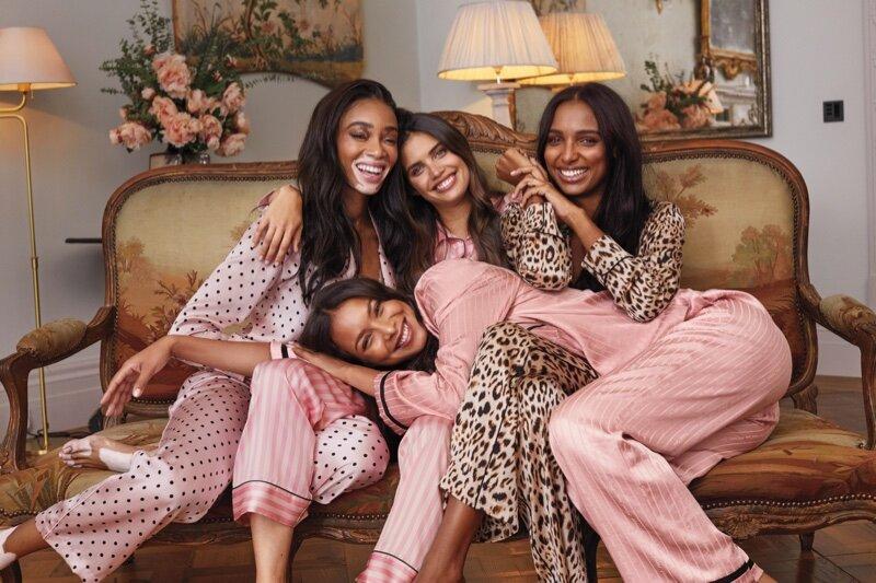 Winnie Harlow, Lais Ribeiro, Sara Sampaio and Jasmine Tookes welcome you to a Victoria's Secret Holiday 2019 pajama party.