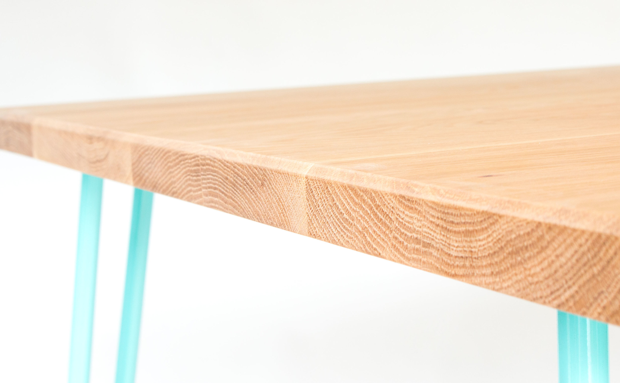 European Oak table top on Cord Industries steel hairpin legs in turquoise