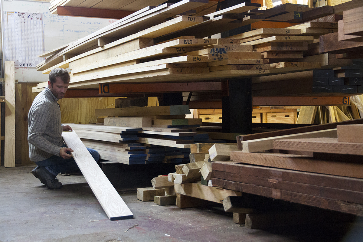Selecting planks of oak at the timber yard