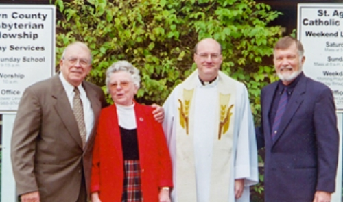 Rev. Richard Crowley, Sister Mildred Wannemuehler, Father Bill Strimpf, and Rev. Dr. Roger Dean, clergy of both congregations