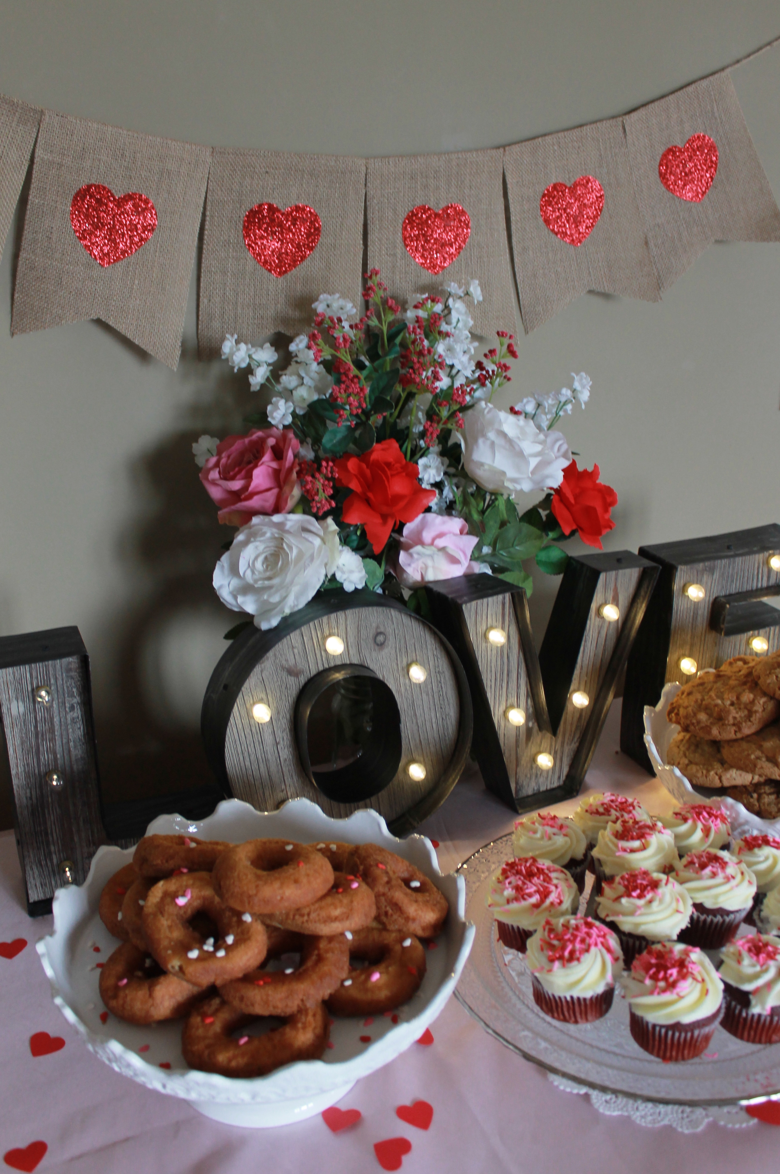 Featured product: LOVE Marquee Sign, Silver Rimmed Glass Cake Stand, Royal Cake Stand