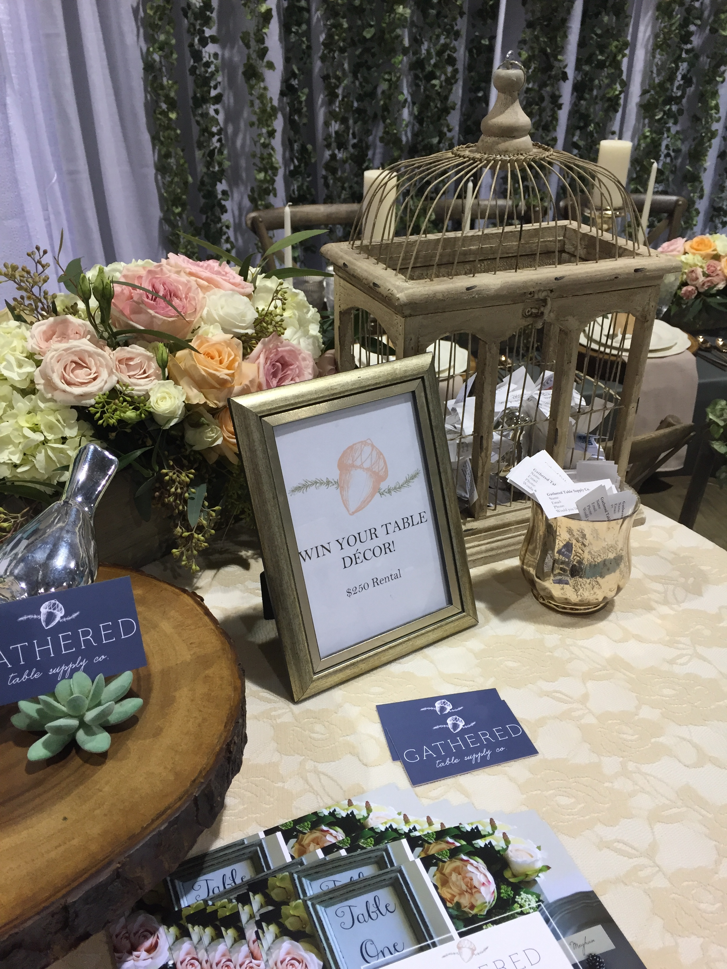 Featured Product: Wood Slice Cake Stand, Succulent Place Card Holder, Gold Mercury Glass Votive, Beige Rustic Birdcage