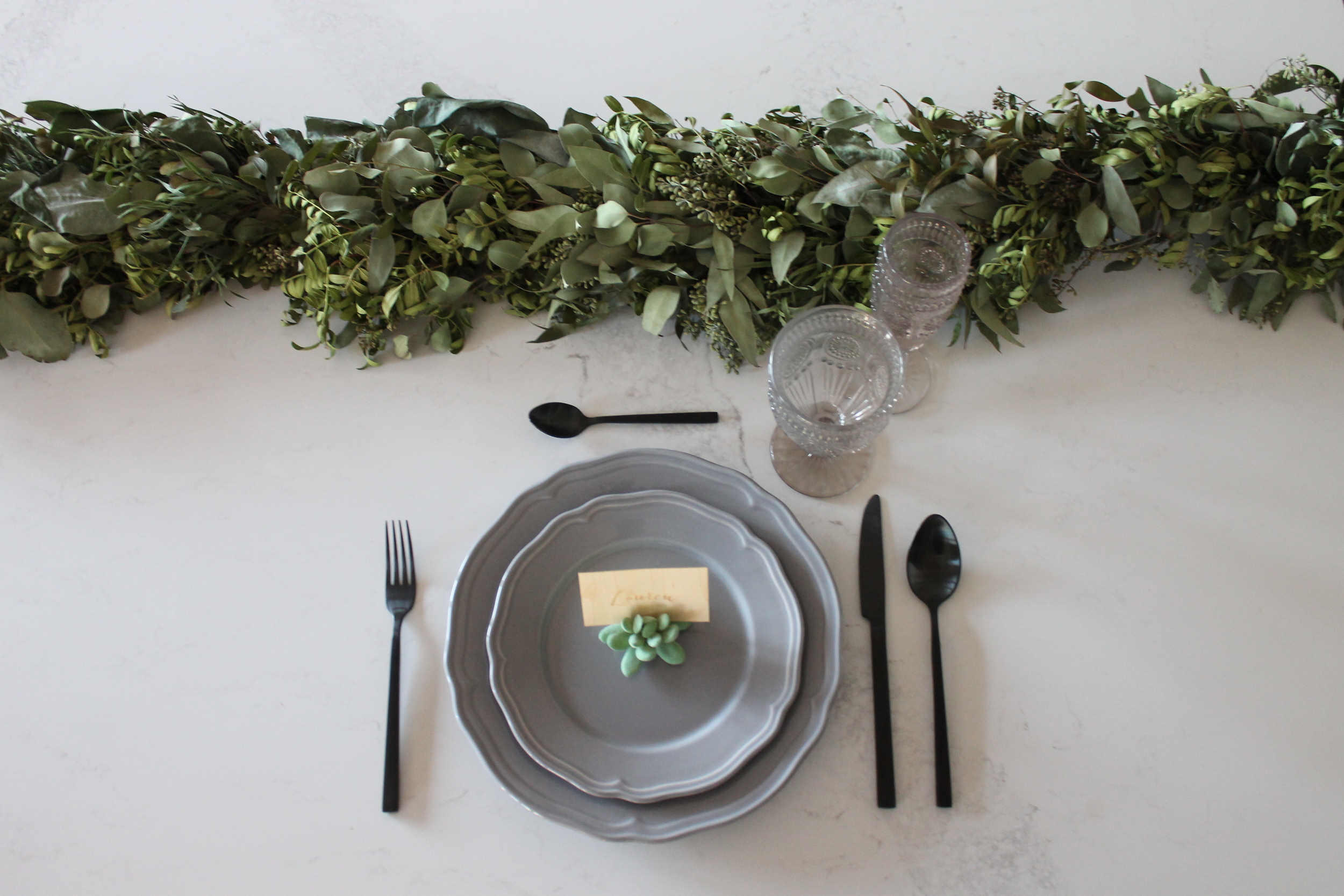 Featured Product: Grey Dinner Plate & Salad Plate, Black Cutlery, Succulent Place Card Holder, Smoke Vintage Hobnail Goblet and Champagne Flute