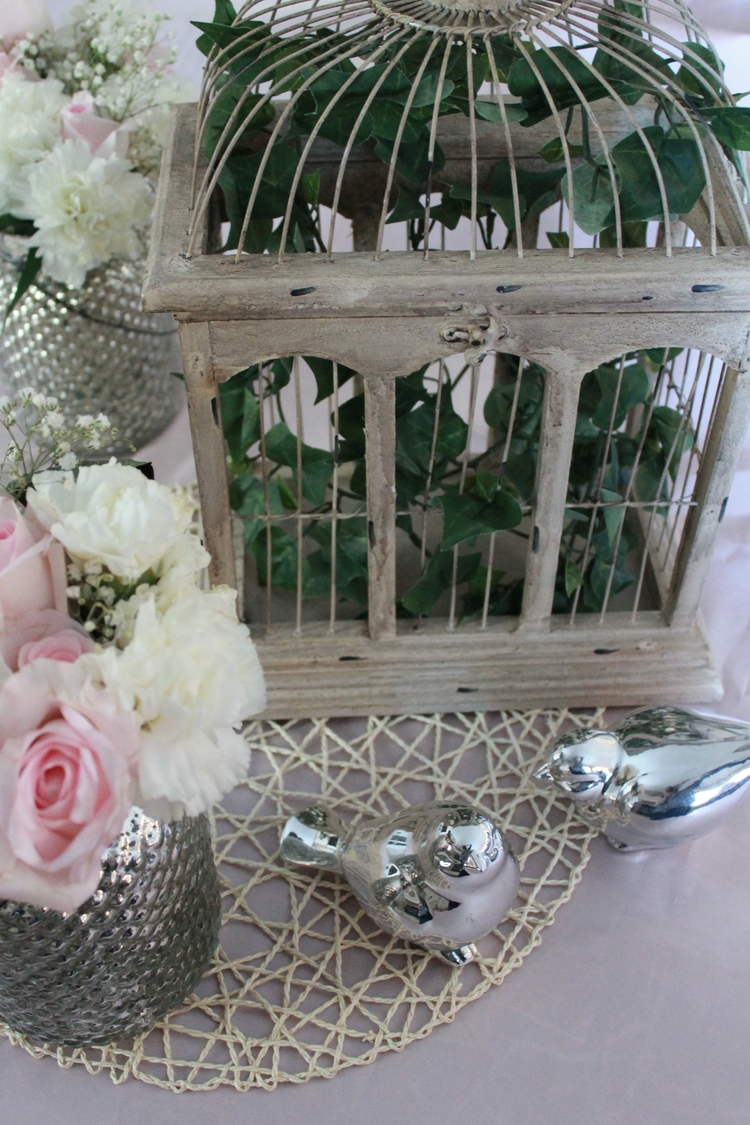 Featured product: Woven Charger Underlay, Silver Hobnail Vases, Natural Wood Birdcage