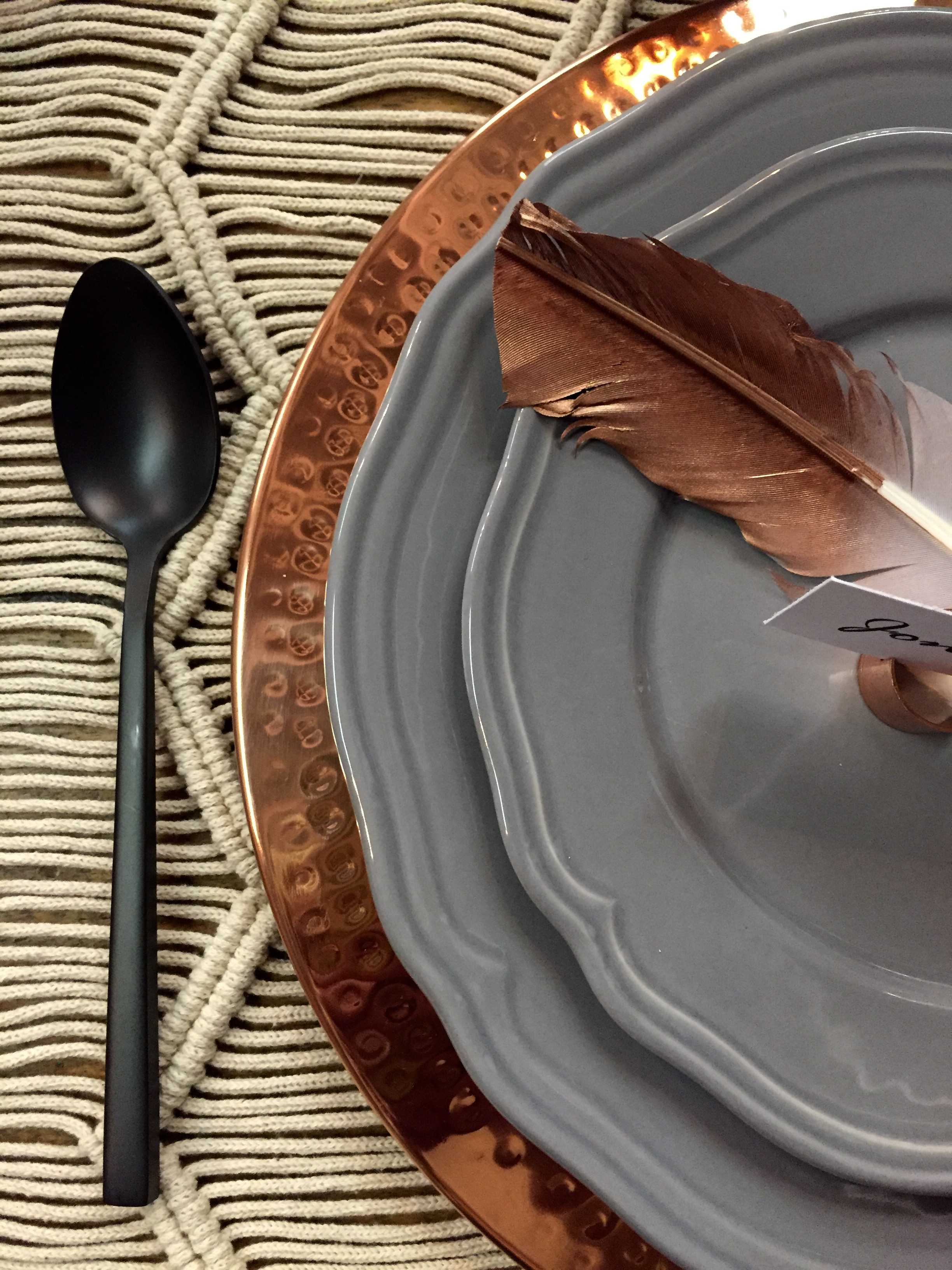 Featured: Copper Charger Plate, Grey Dinnerware, Copper Pipe Place Card Holder, Black Flatware