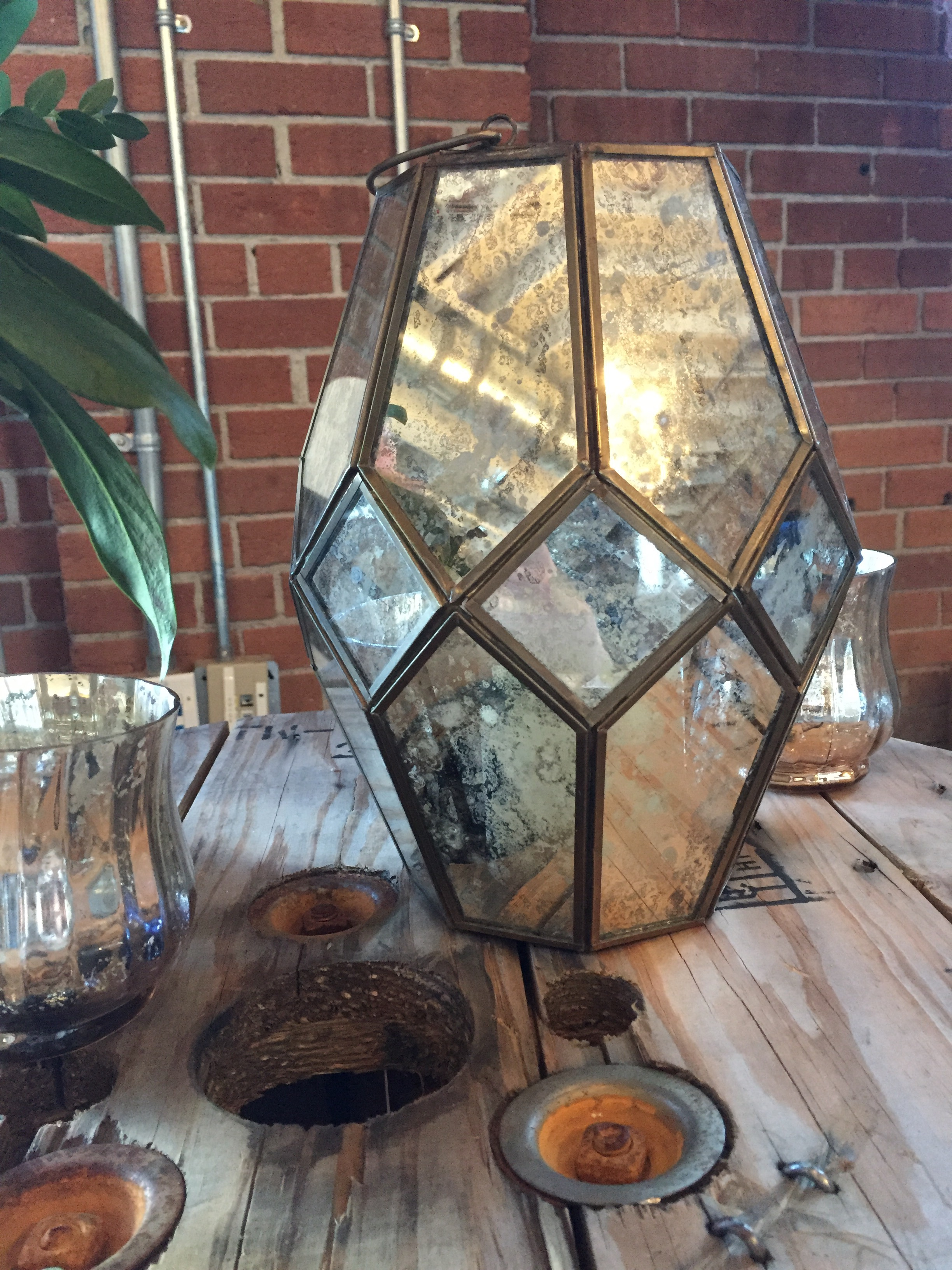 Featured: Garden Lantern, Gold Mercury Glass Votive