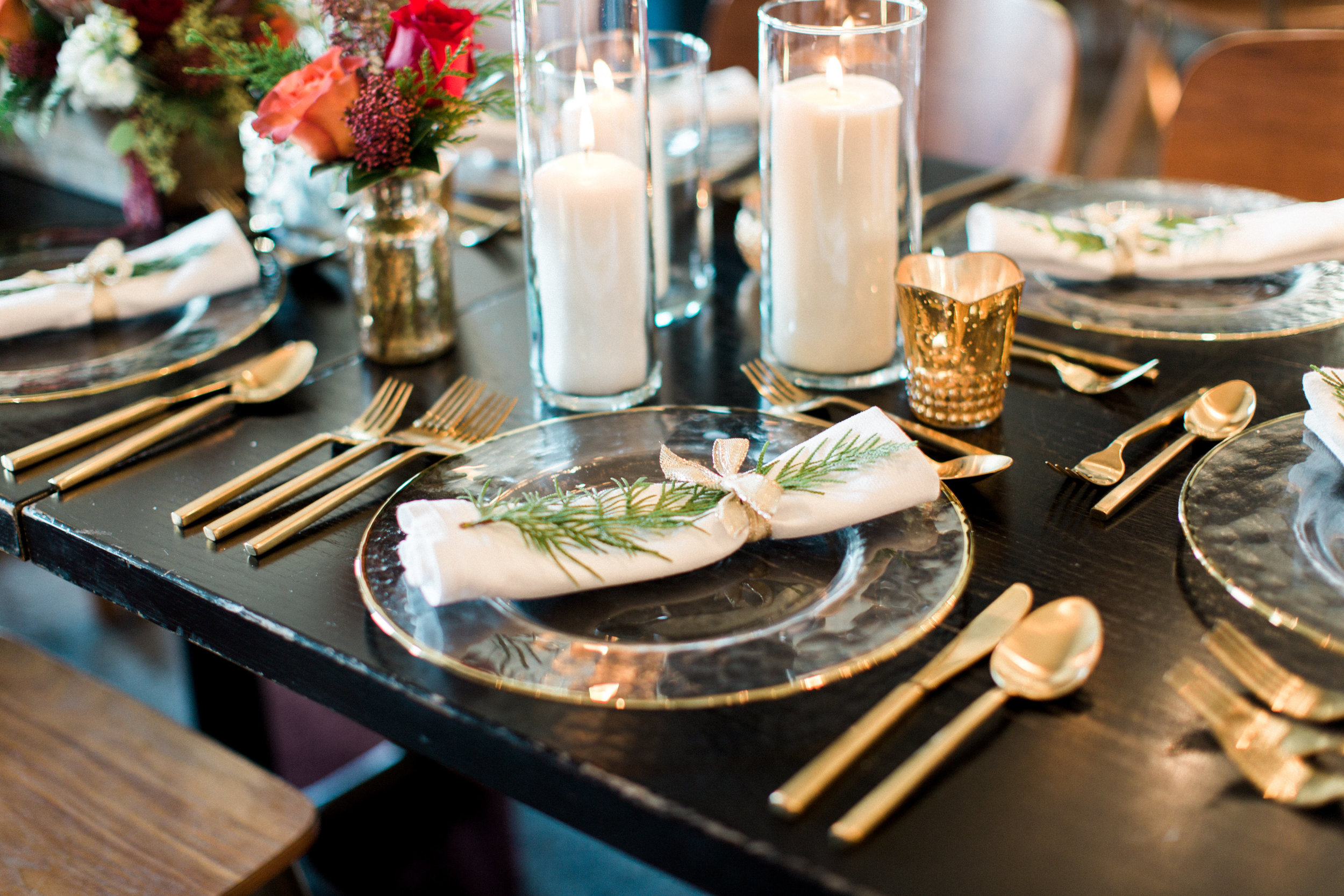 Get the look: Glass candleholders, scalloped gold votive, matte gold cutlery, glass gold rim cutlery