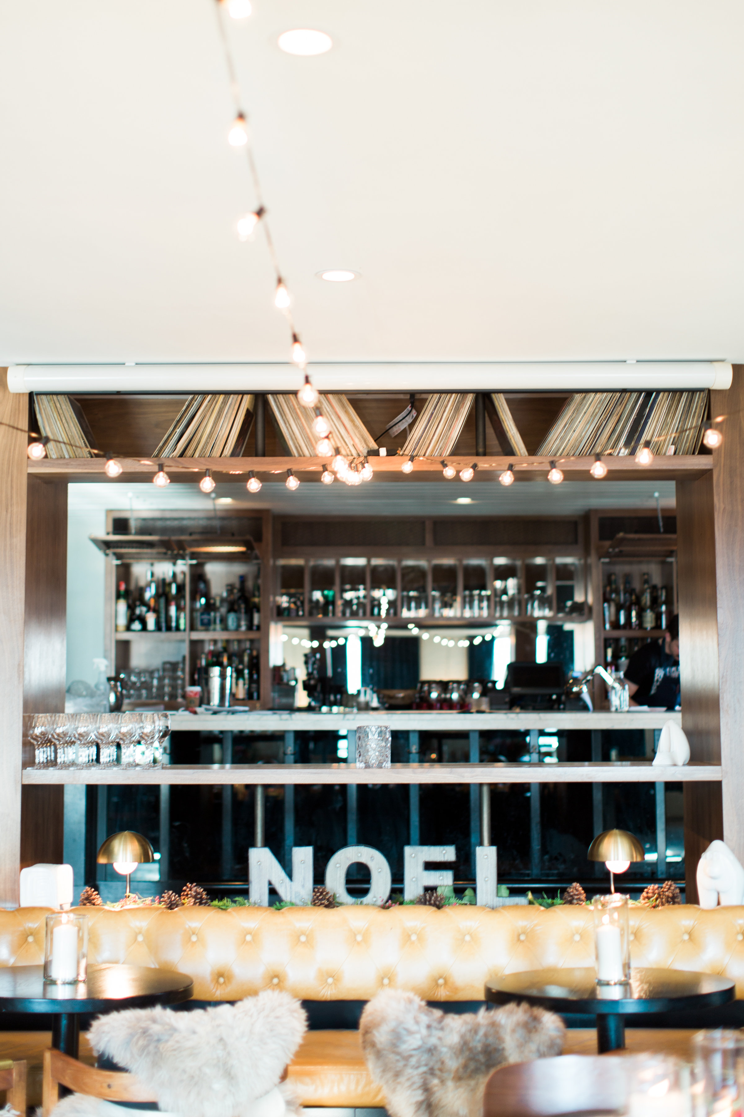 Get the look: Glass candleholder, NOEL marquee sign