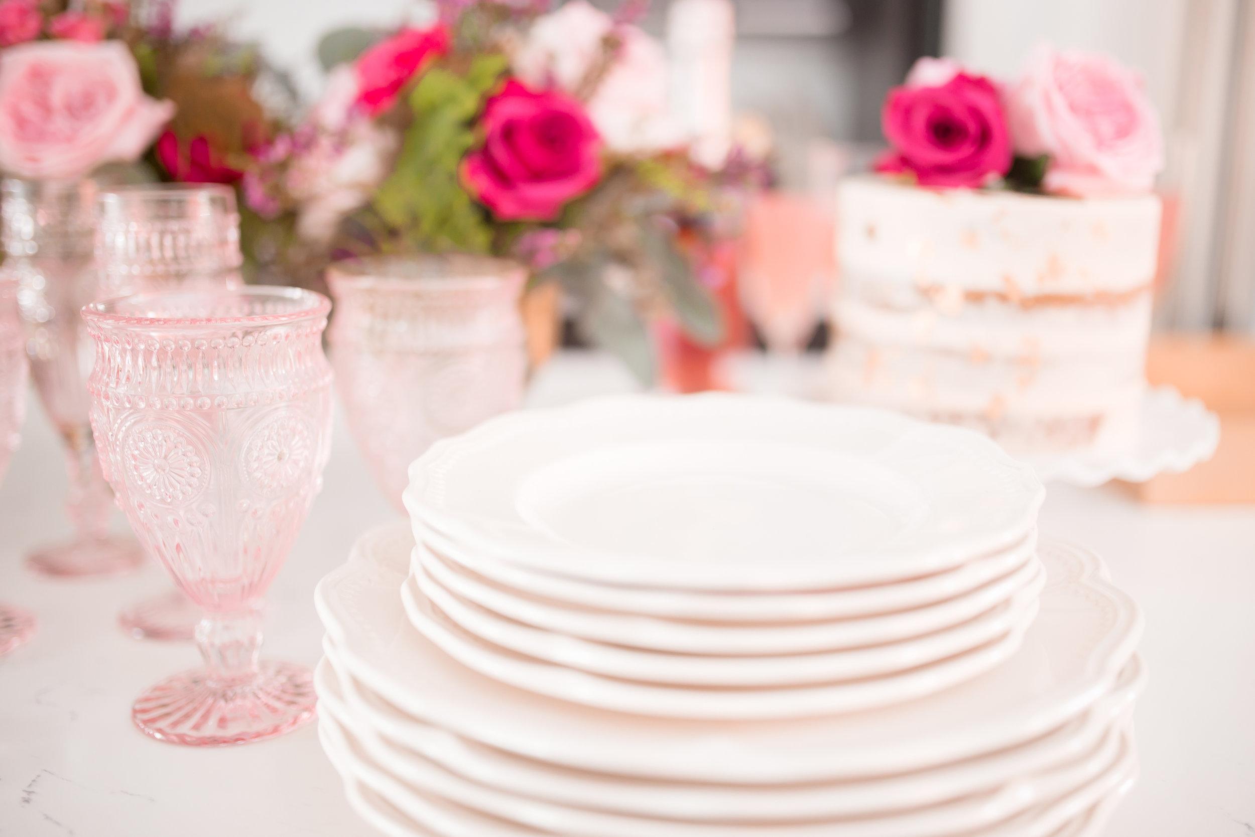 Ivory Dinnerware, Blush Goblet & Flute