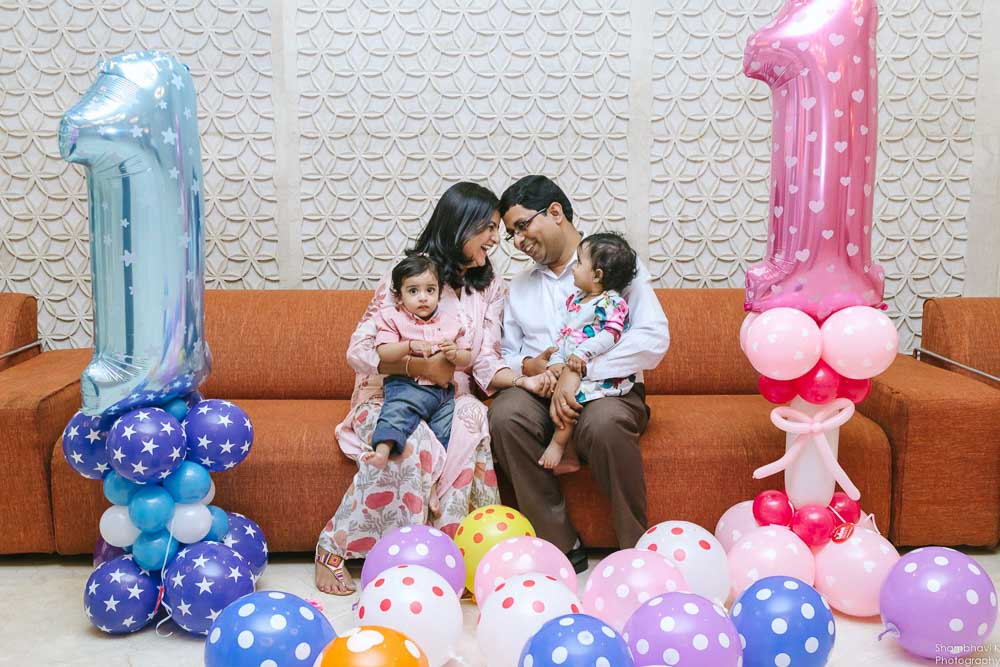 first birthday celebration for kid with family
