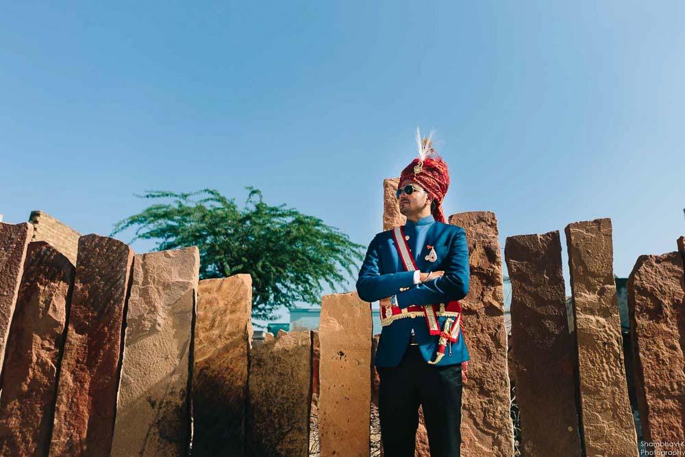 groom portrait in rajasthani wedding photoshoot bikaner