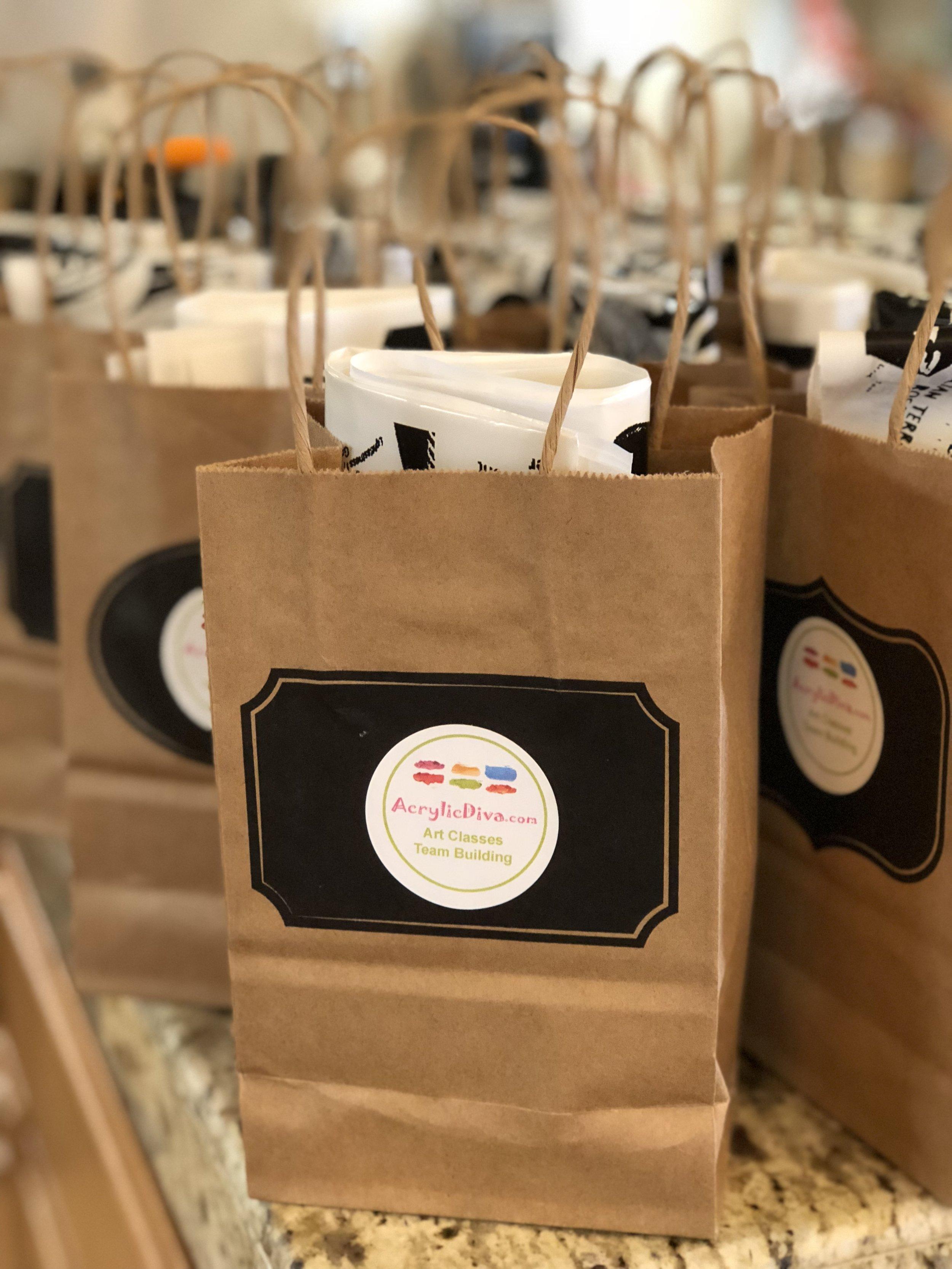 Branded goodie bags.