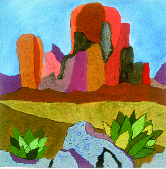 "One of my old landscapes from the 1990s. ""Angel Peak"" Acrylic and pastel on museum board. 30"" x 30"""