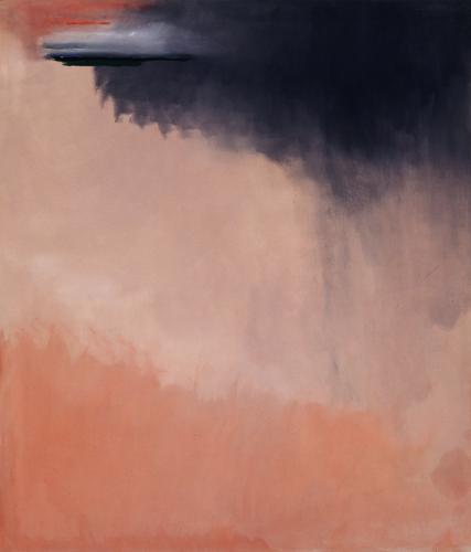"""Helen Frankenthaler """"Cloudburst"""" 2002 Acrylic on canvas  79 1/4 x 68 1/4 inches (201.3 x 173.4 cm)"""