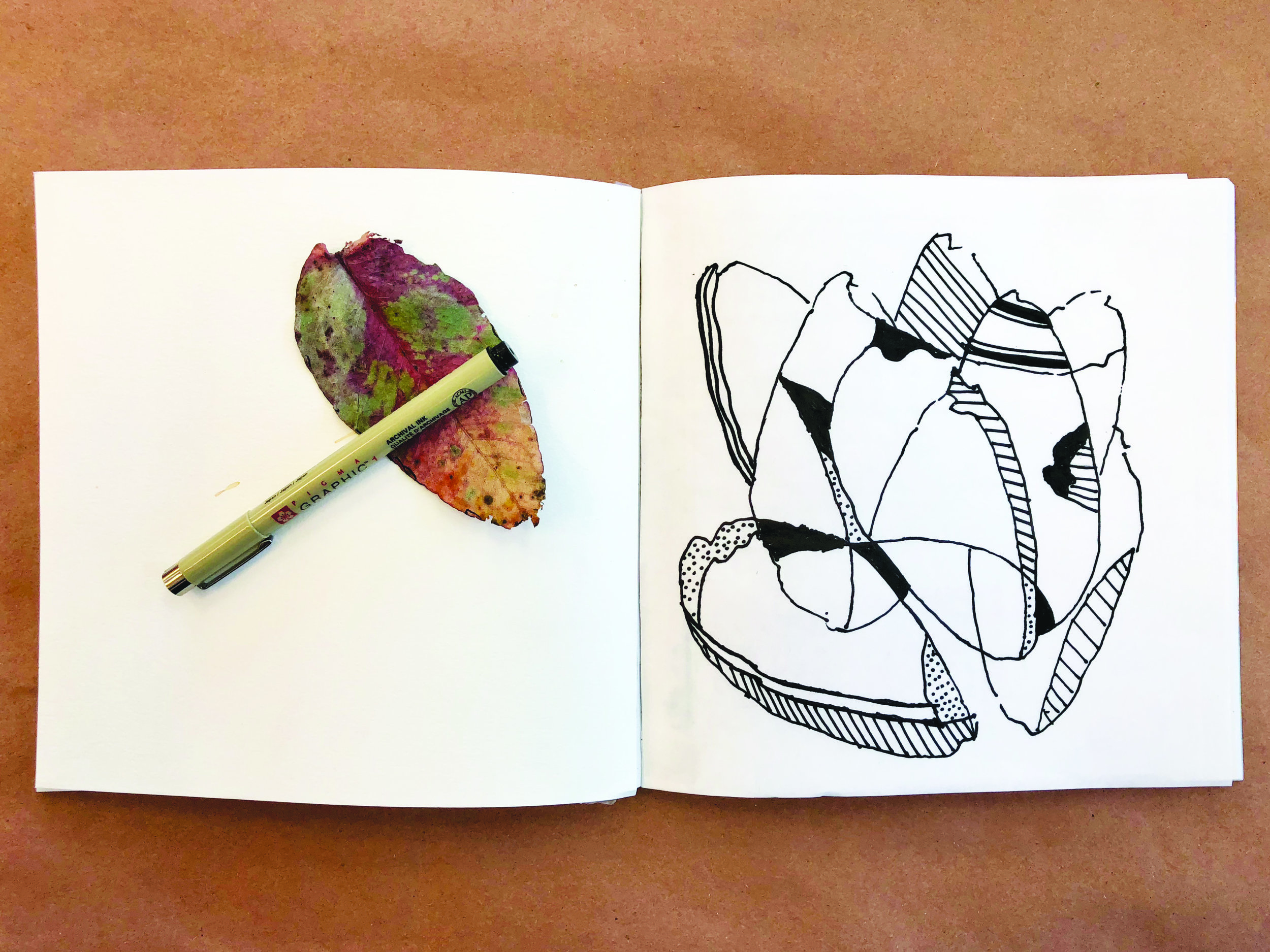 """One of the pages from my newest book """" The Maker's Book """" drawn with the Pigma Micron."""