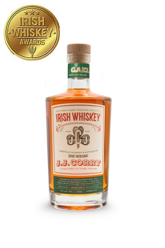 The Gael - J.J. Corry 'The gael' our first blended irish whiskey release aWARDED gOLD mEDAL IN 2017 iRISH wHISKEY aWARDSNamed after a Bicycle J.J. Corry invented, Our first release The Gael took us just about two years to develop. First we sourced excellent quality and very rare mature Irish Whiskey. Then we set about classifying each cask we have into a particular flavour block. Finally we began blending to create a Classic Irish Whiskey, one bursting with juicy fruit flavours. The Gael has not spent any time on our farm, rather it is our first attempt at beginning to express the house style of whiskey we would like to make in the coming years, once our own stock is mature. Our first batch is only 7500 bottles.To Buy Online for International Shipping Click Here To Buy in Germany Click Here