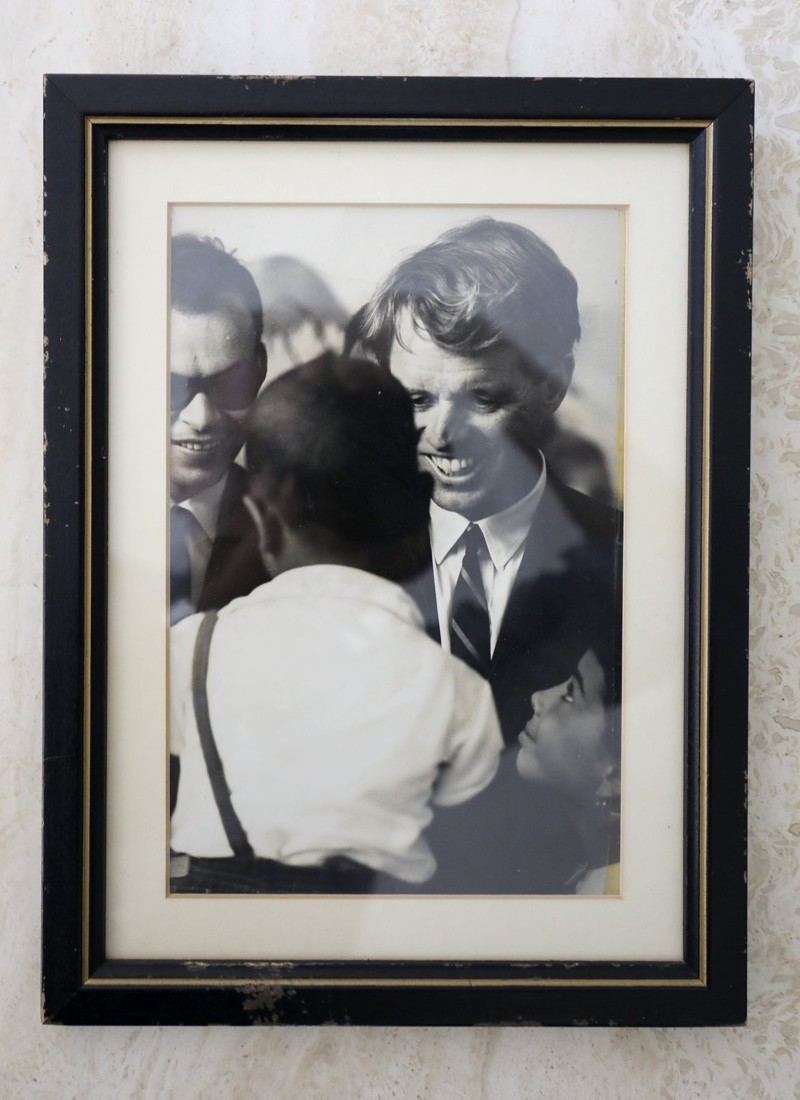 """A black-and-white framed photo belonging to Jonathan Schuman of Lake Clarke Shores. """"It was taken in Washington, D.C., in 1968 for a campaign brochure"""" for Robert F. Kennedy, he said. (Bruce R. Bennett / The Palm Beach Post)"""