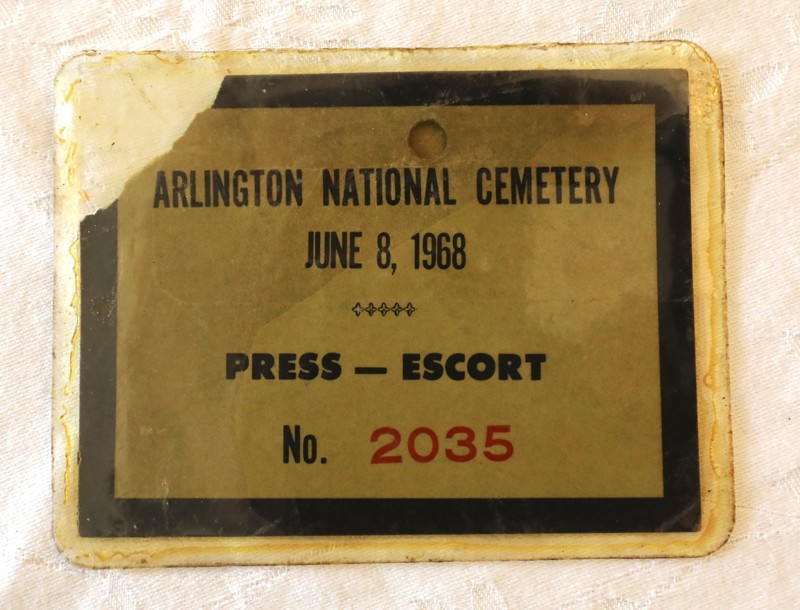 A Secret Service pass for access to Robert F. Kennedy's grave at Arlington National Cemetery belonging to Jonathan Schuman. It was photographed at Schuman's home in Lake Clarke Shores Tuesday, June 5, 2018. (Bruce R. Bennett / The Palm Beach Post)