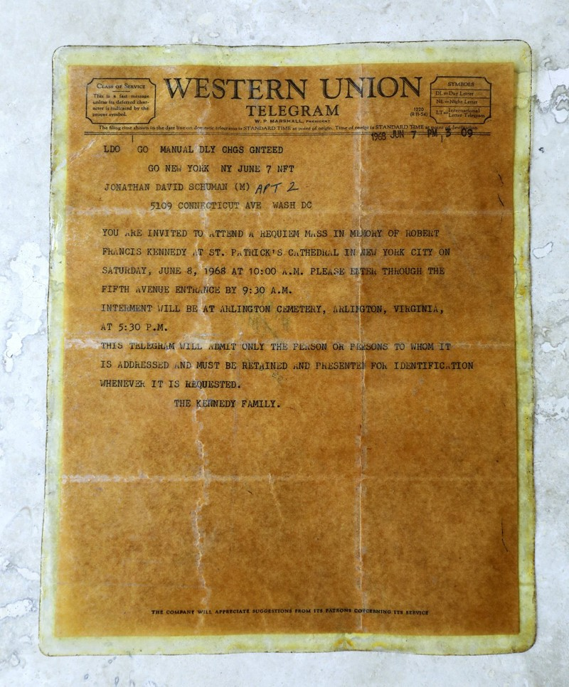 """A Western Union telegram belonging to Jonathan Schuman of Lake Clarke Shores. """"This was the only way anyone could get in to (RFK's) funeral at St. Patrick's and interment in Arlington."""" (Bruce R. Bennett / The Palm Beach Post)"""
