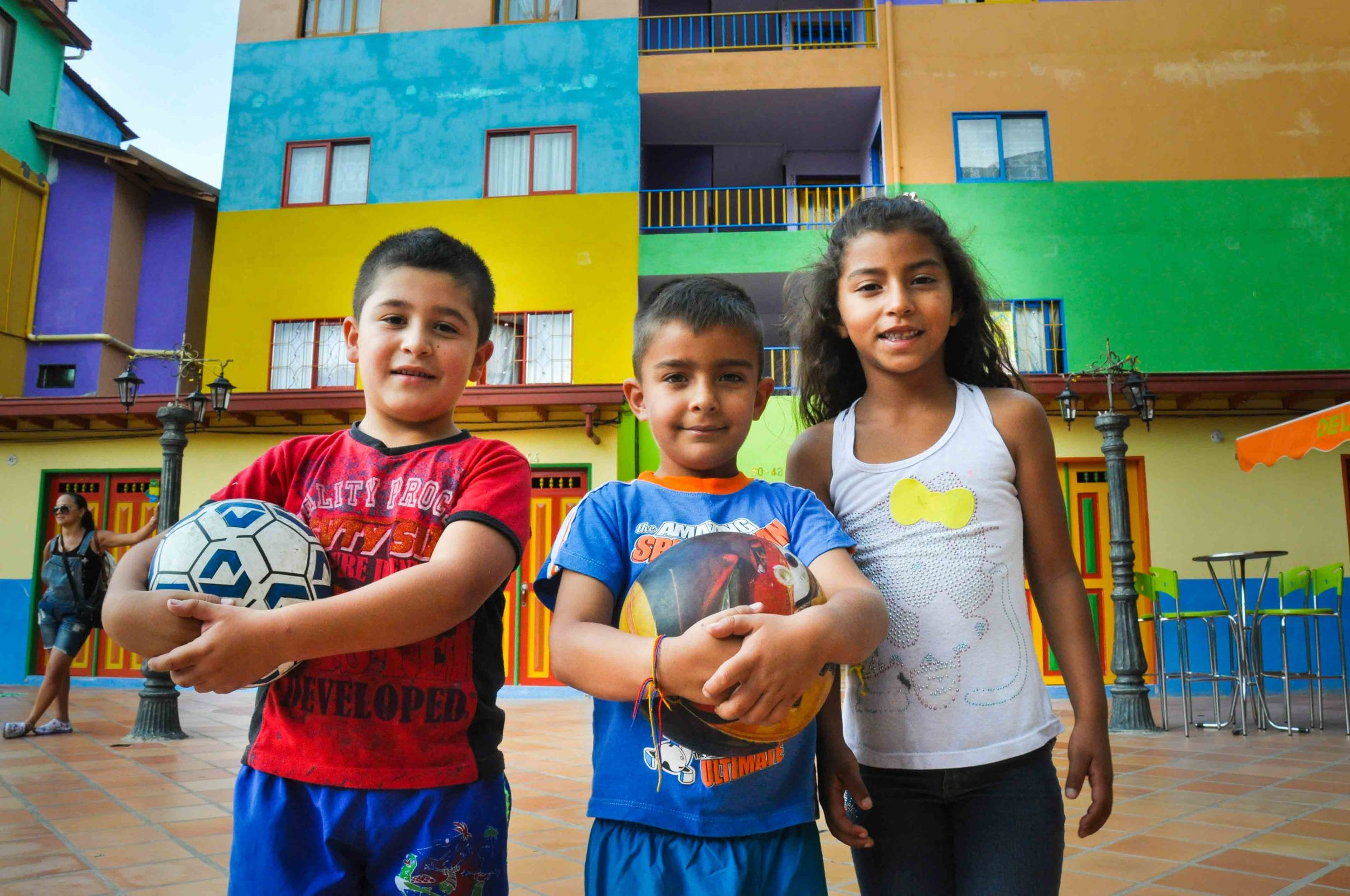 Soccer superstars in Guatape