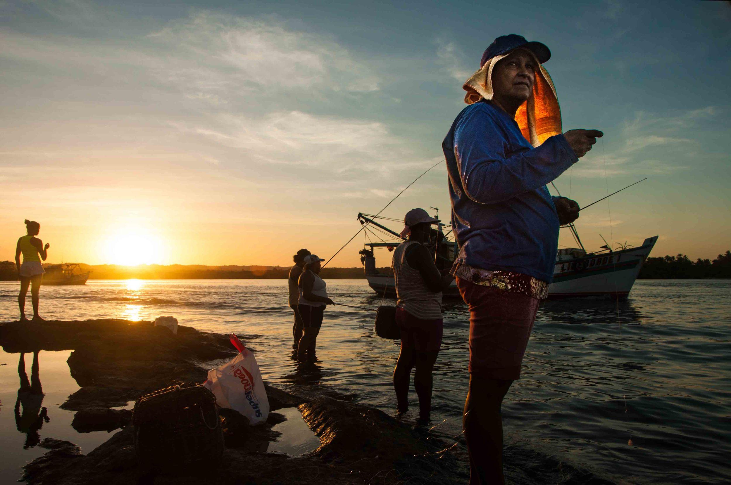 Women fishing in Itacare, Bahia - Brasil