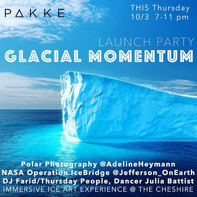 This week is a big week! Launch party on Thursday at @thecheshiredc for an exhibit I've been dreaming about for a while now to showcase new and huge polar photos along with a massive installation of a stunning panoramic image from NASA's Operation IceBridge.  You'll get to walk on a glacier, experience a glacier in VR, dance to a DJ, see a light installation by @the real masoncalhoun see a dance performance and have some drinks!  Washington DC- see you there!!! Link in bio. . . . #dreamitdoit #designyourlife @discoverpakke @thecheshiredc #dctography #igdc #dcphotographer @igdc @arcteryxwashingtondc @visitwashingtondc @washingtoncitypaper @washingtondc.scout