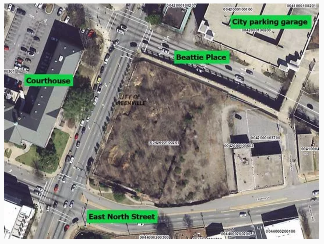 The 1.83-acre Gateway site, located on North Church Street across from the county courthouse, is sandwiched between Beattie Place and East North Street. It recently sold for $3 million. (Photo: Anna B. Mitchell)