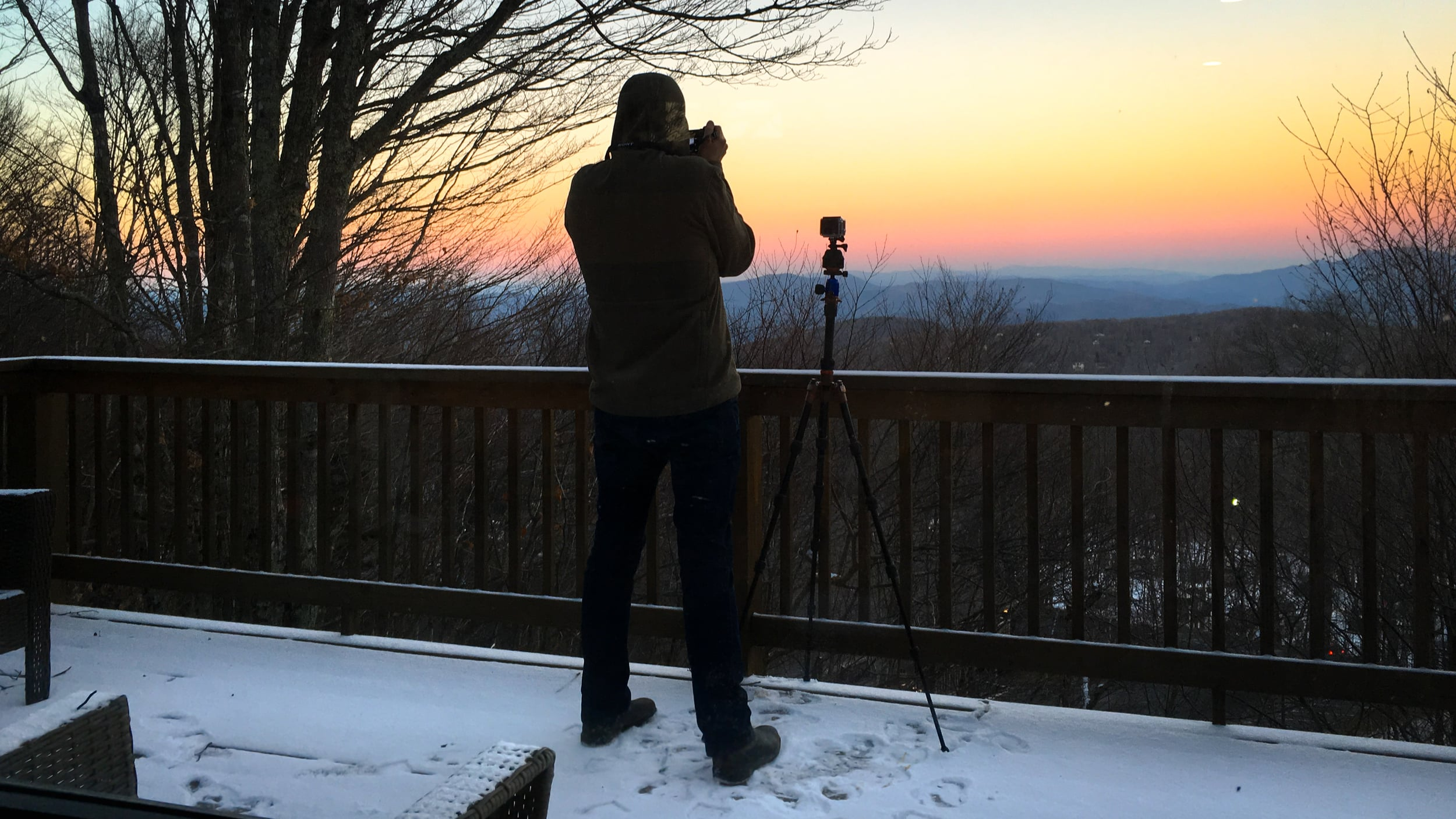 Bonus: a behind-the-scenes shot that my wife took with her iPhone 6s while I was out shooting on the deck.