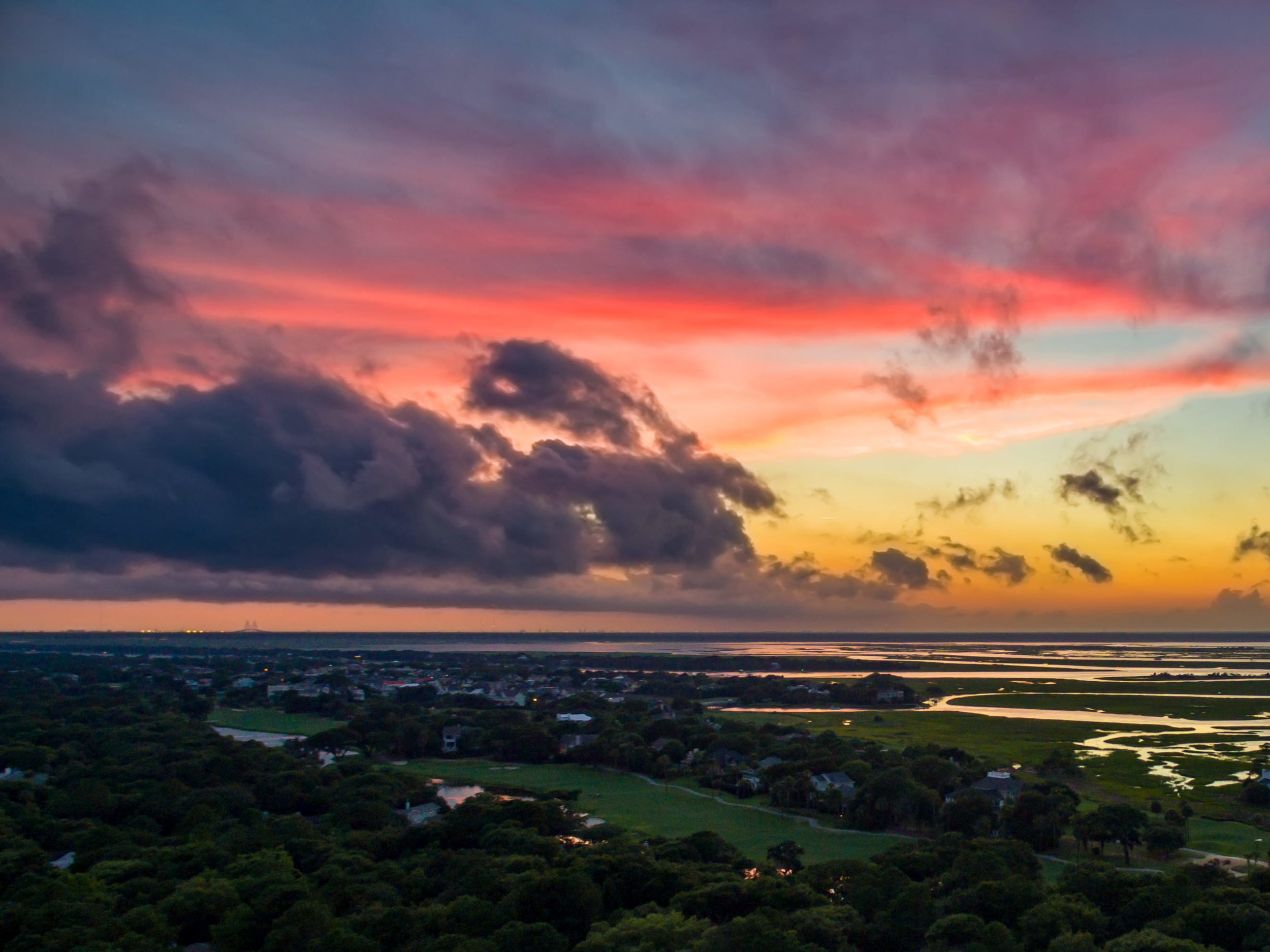 Sunset Flight Over Isle of Palms