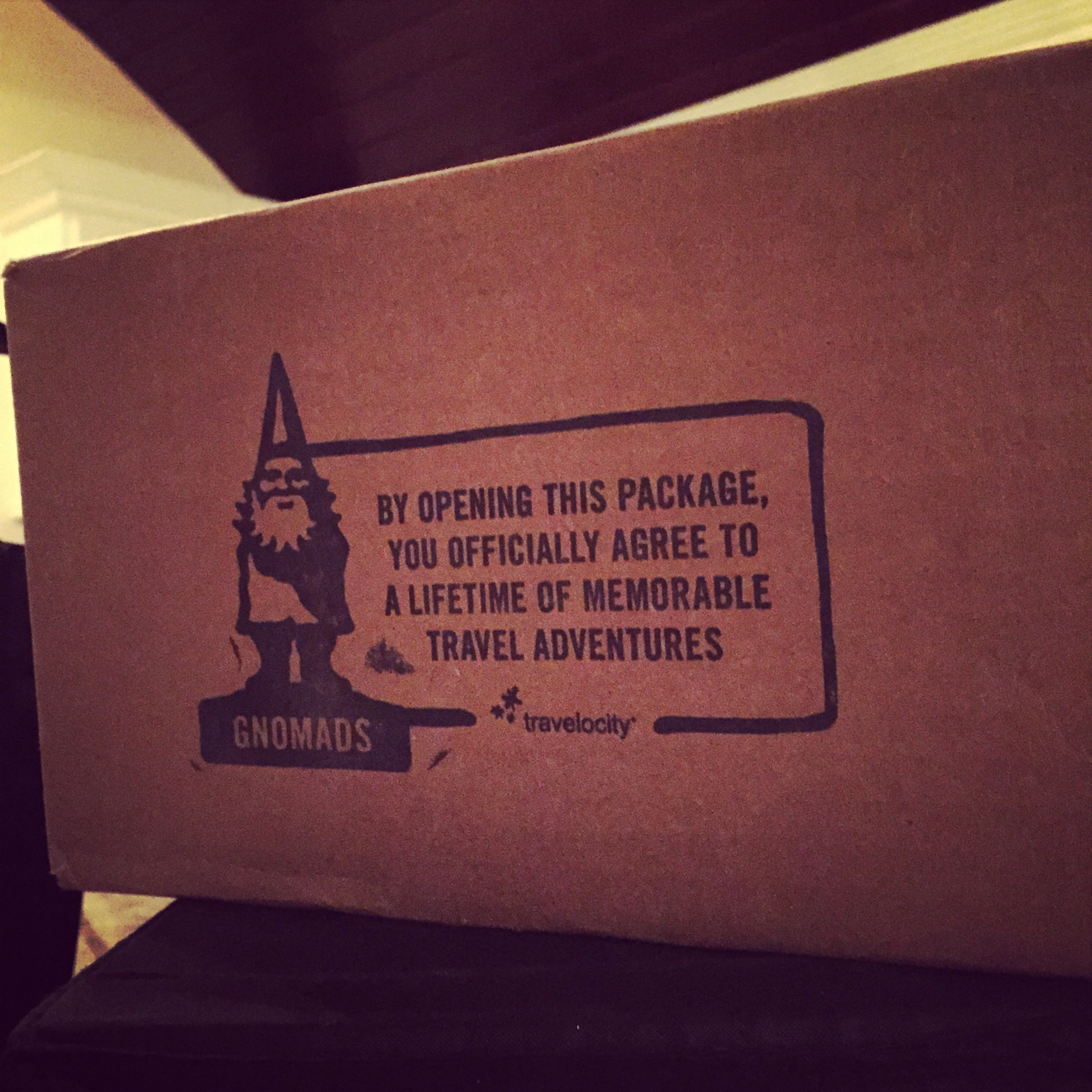 Our Travelocity Roaming Gnome arrived on our doorstep two years ago on Valentine's Day and we were thrilled to adopt him!