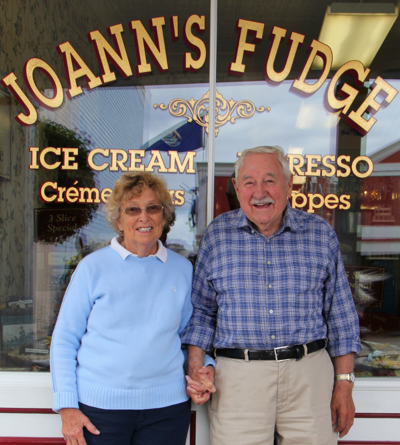 Frank and Joan, Founders, strike a pose outside one of their Mackinac Island locations.
