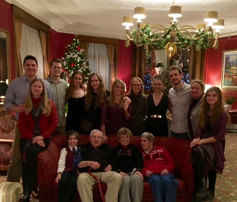 The Joann's Fudge Family, Frank and Joan Nephew with their children and grandchildren. Christmas Eve, 2015