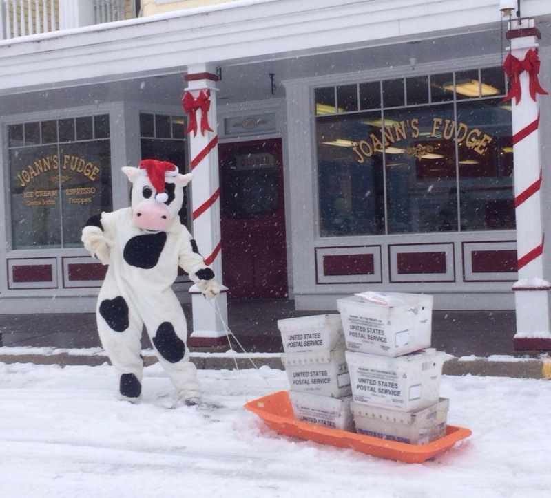 Your fudge is taken to the Mackinac Island Post Office in style!