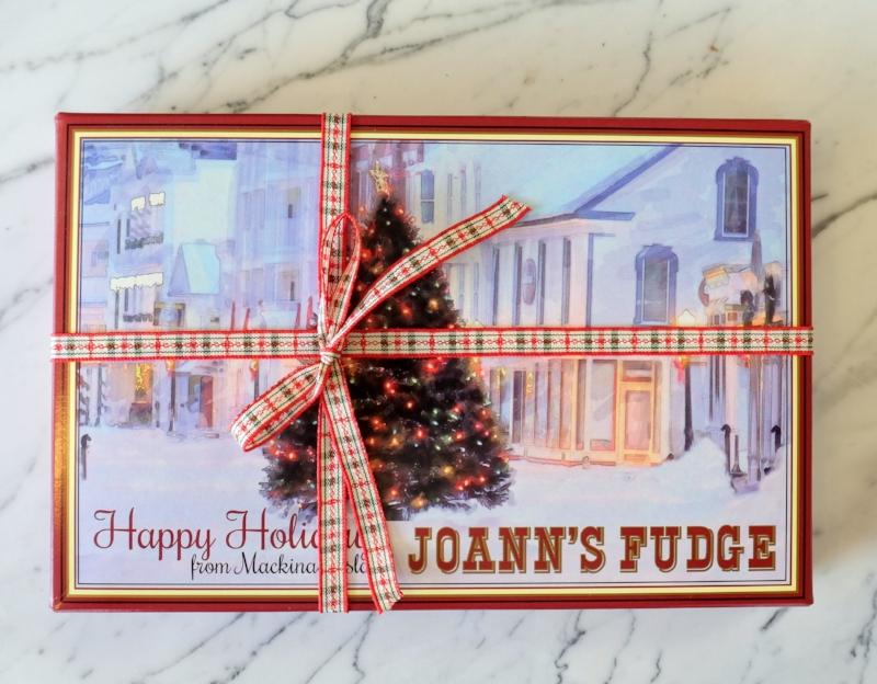 Four Slice Happy Holiday's box of Joann's Fudge