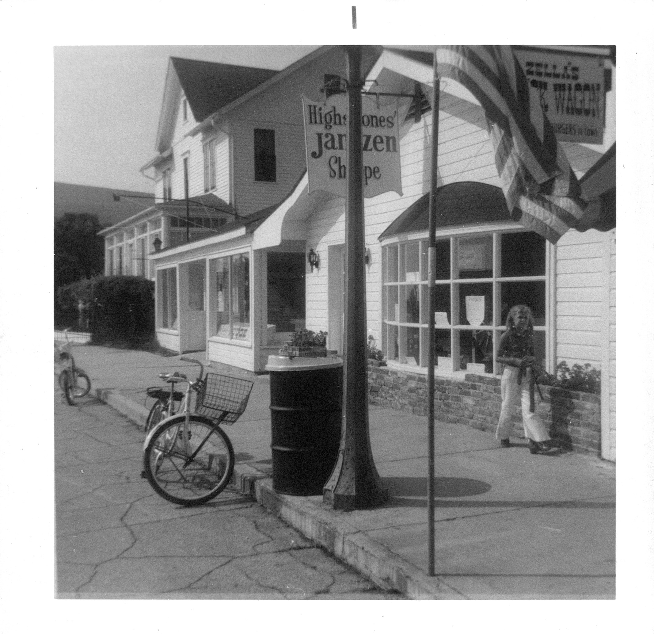 Frank and Joan's daughter Cheryl in 1969 in front of Highstone's Jantzen Shoppe, which is now Nephew's of Mackinac.
