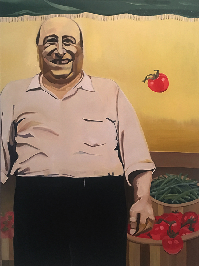 """Tomato Ascension, 48""""x36"""", Oil on Canvas, 2017."""